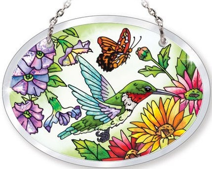 Amia 5237 Hummingbird Garden N Bloom Small Oval Suncatcher