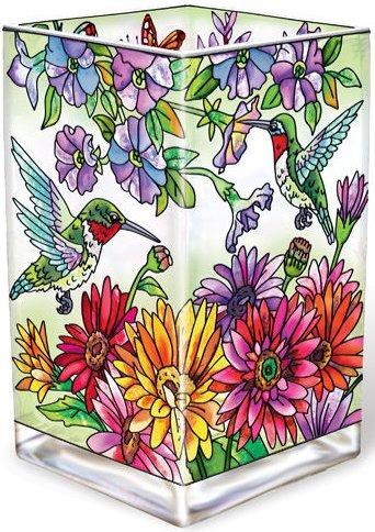 Amia 5240 Hummingbird Garden N Bloom Rectangular Vase Votive Holder