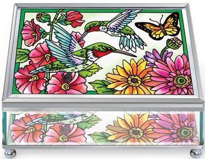Amia 5244 Hummingbird Garden in Bloom Large Jewelry Box