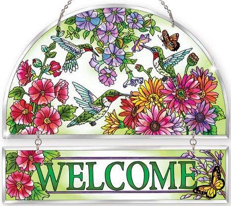 Amia 5247 Hummingbird Garden N Bloom Beveled Welcome Panel
