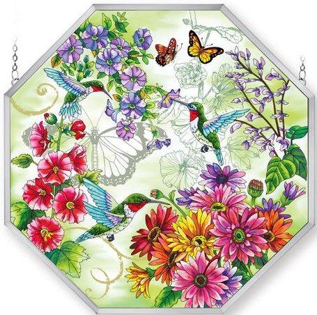 Amia 5249 Hummingbird Garden N Bloom Large Octagon Panel