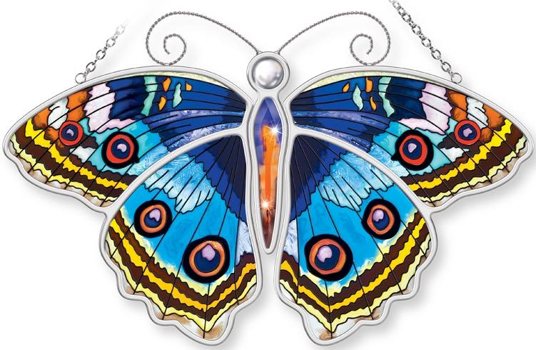 Amia 5305 Blue Pansy Butterfly Suncatcher