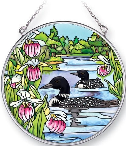 Amia 5336 Loons and Ladyslippers Medium Circle Suncatcher