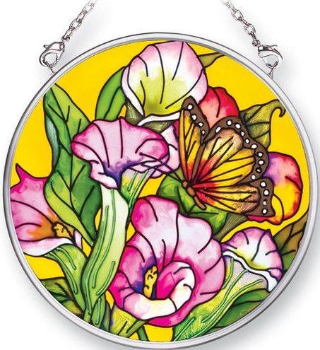Amia 5353 Callas and Monarchs Small Circle Suncatcher