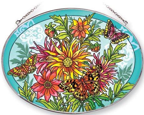 Amia 5359 Dahlias and Butterflies Large Oval Suncatcher