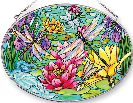 Amia 5363 Water Lilies Large Oval Suncatcher
