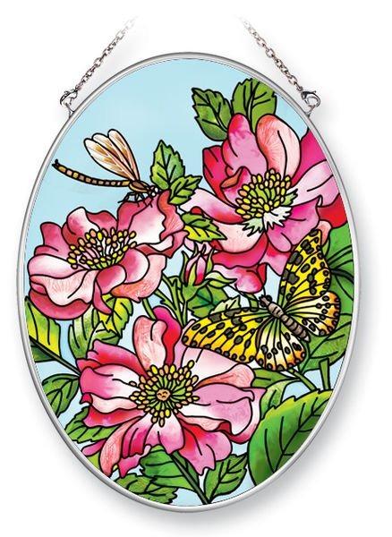 Amia 5367 Wild Roses Medium Oval Suncatcher