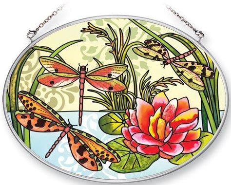 Amia 5368 Dragonflies Medium Oval Suncatcher