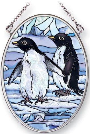 Amia 5384 Penguins Small Oval Suncatcher