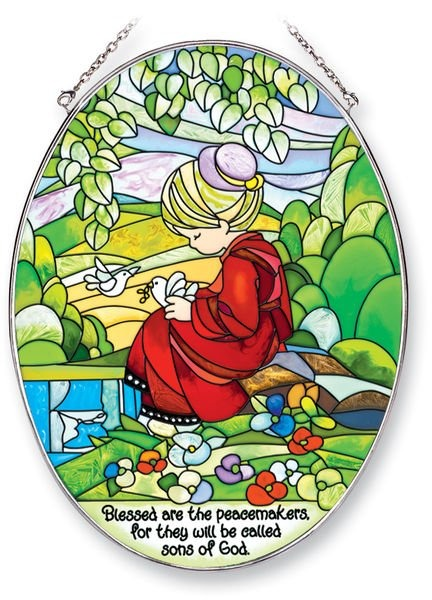 Amia 5409 Blessed Are The Peacemakers Large Oval Suncatcher