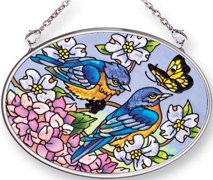 Amia 5423 Blue Skies Bluebirds Small Oval Suncatcher