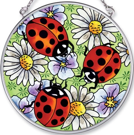 Amia 5461 Ladybugs & Daisies Medium Circle Suncatcher