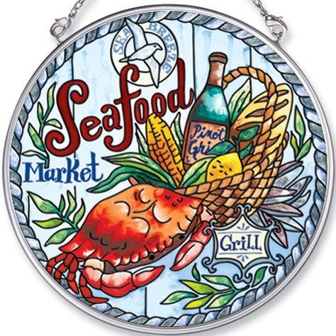 Amia 5463 Seafood Market Seafood Medium Circle Suncatcher
