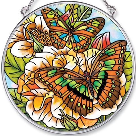 Amia 5465 Green Butterflies & Florals Medium Circle Suncatcher