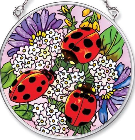 Amia 5492 Ladybugs & Floral Small Circle Suncatcher