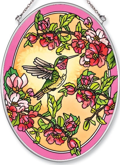 Amia 5509 Hummingbird & Cherry Blossm Medium Oval Suncatcher
