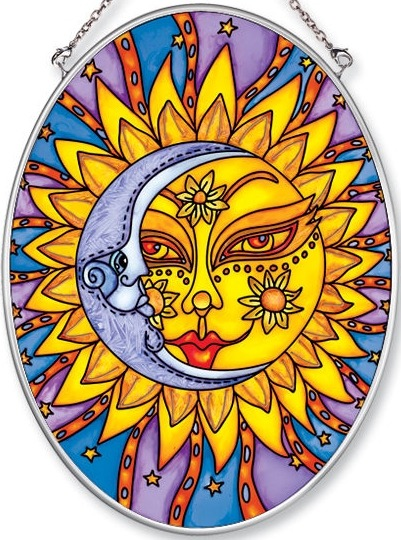 Amia 5518 Celestial Moonsun Medium Oval Suncatcher