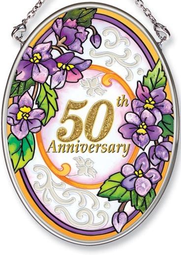 Amia 5531 50th Anniversary Small Oval Suncatcher