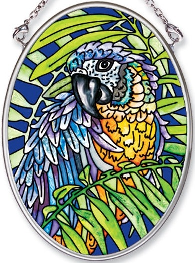 Amia 5543 Blue and Yellow Macaw Small Oval Suncatcher