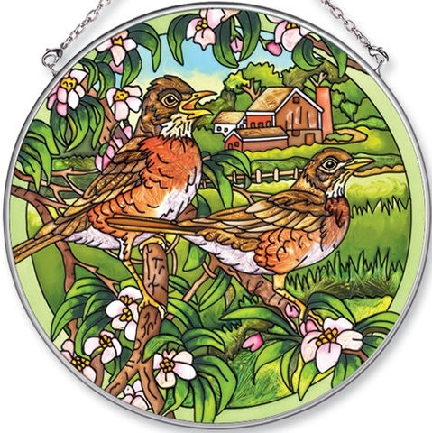Amia 5577 Robins Large Circle Suncatcher
