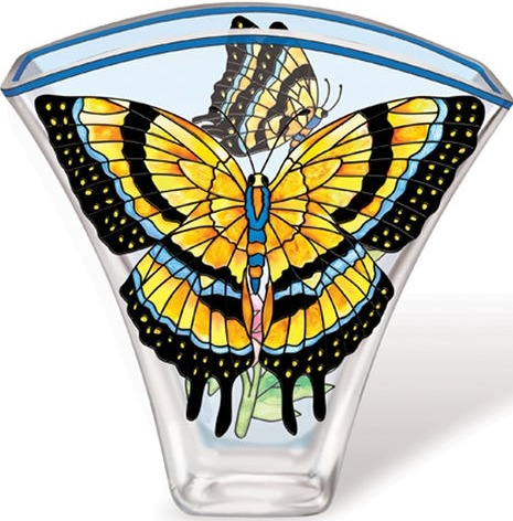 Amia 5617 God Yellow Butterfly Fan Shaped Vase
