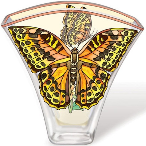 Amia 5623 Cardinal Butterfly Fan Shaped Vase