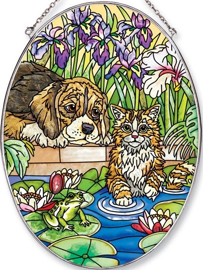 Amia 5629 In The Pond Large Oval Suncatcher