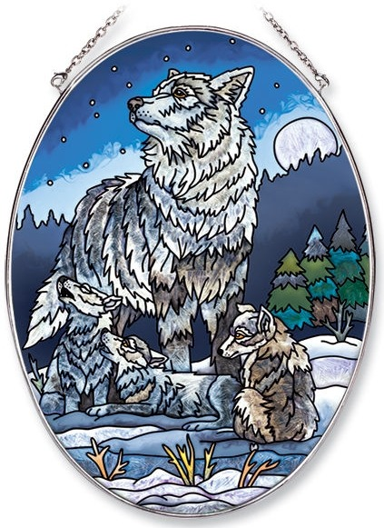 Amia 5633 Howling Lessons Large Oval Suncatcher