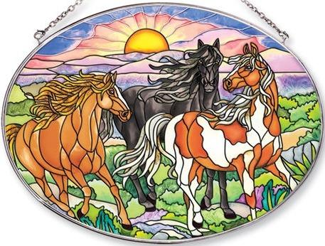 Amia 5660 Wild Mustang Horse Large Oval Suncatcher