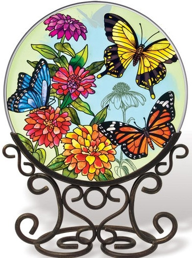 Amia 5681 Butterfly Garden In Bloom Large Circle Suncatcher