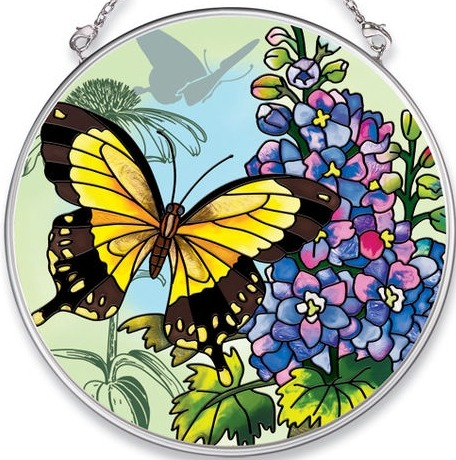 Amia 5682 Larkspur & Swallowtail Medium Circle Suncatcher