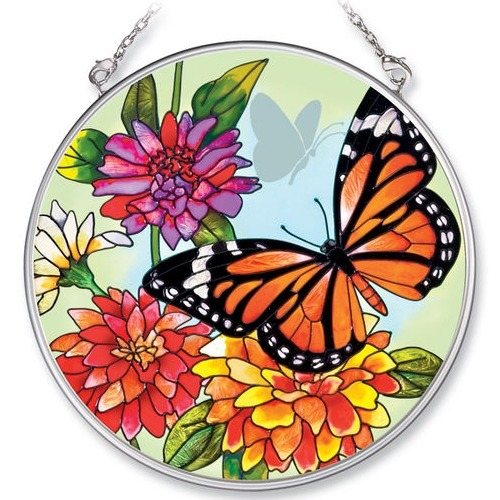 Amia 5683 Monarch & Zinnia Medium Circle Suncatcher