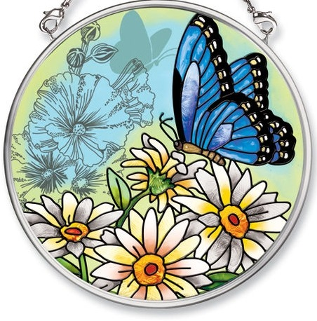 Amia 5684i Daisies & Purple Butterfly Small Circle Suncatcher