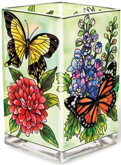 Amia 5685 Butterfly Garden In Bloom Rectangular Vase Votive Holder