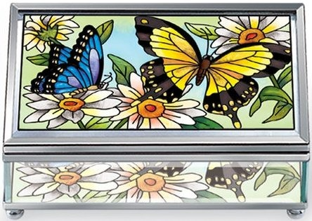 Amia 5689 Butterfly Garden In Bloom Medium Jewelry Box