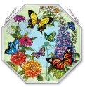 Amia 5691 Butterfly Garden In Bloom Beveled Glass Medium Octagon Panel