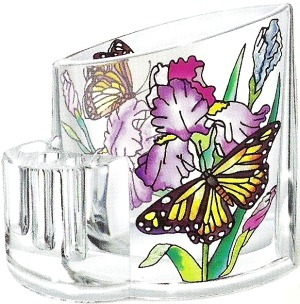 Amia 5751 Irises & Butterfly Pencil Holder