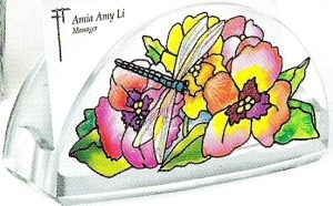 Amia 5770 Fancy Pansies Business Card Holder
