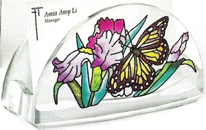 Amia 5771 Irisies & Butterfly Business Card Holder