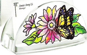 Amia 5772 Daisies and Butterfly Business Card Holder