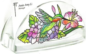 Amia 5774 Hydrangea and Hummingbirds Business Card Holder