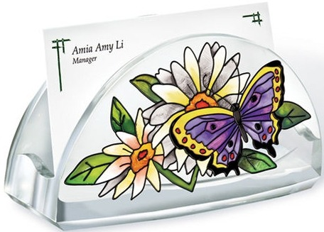 Amia 5784 Butterfly Garden In Bloom Business Card Holder