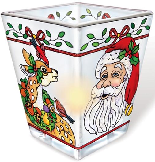 Amia 5790 Santa and Reindeer Petite Votive Holder