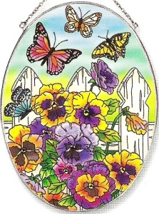 Amia 5822 Pansies & Butterflies Large Oval Suncatcher