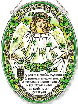 Amia 5828 St. Patrick's Day Angel Large Oval Suncatcher
