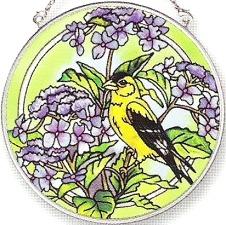 Amia 5838 Goldfinch With Hydrangea Medium Circle Suncatcher
