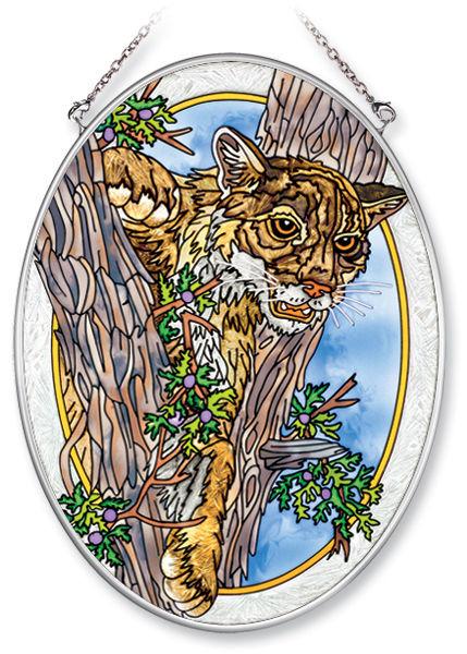 Amia 5862 Cougar In Trees Medium Oval Suncatcher