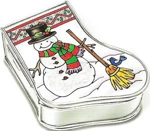 Amia 5895 Snowman Stocking Jewelry Box