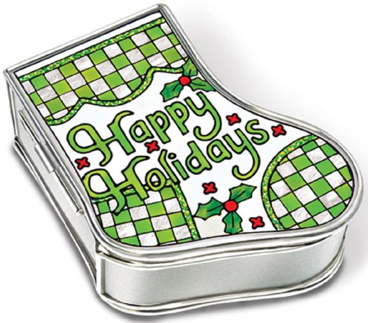 Amia 5897 Happy Holidays Stocking Jewelry Box