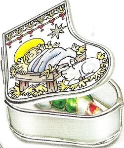 Amia 5898 Baby Jesus Manger Stocking Jewelry Box